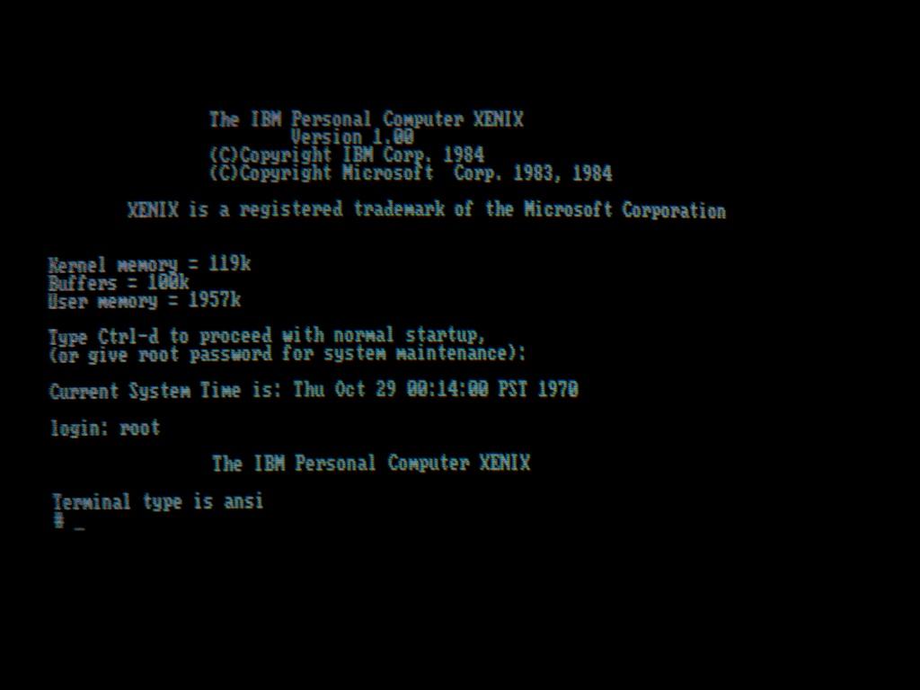 See figure 1. — A bit of XENIX...